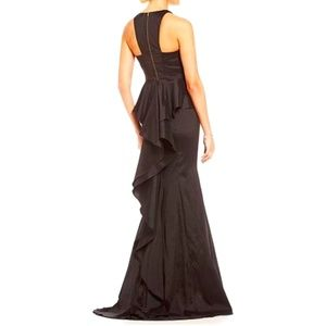 Black Stretch Taffeta Racerback Mermaid Gown